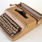 Type writer. Cardboard sculpture by British artist Chris Gilmour