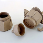 Coffee pot. Cardboard sculpture by British artist Chris Gilmour