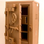Safe. Cardboard sculpture by British artist Chris Gilmour