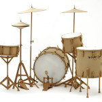 Drums. Cardboard sculpture by British artist Chris Gilmour