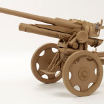 A gun. Cardboard sculpture by British artist Chris Gilmour