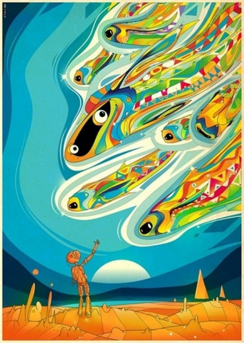 Matei Apostolescus colorful drawings