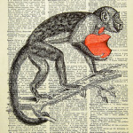 Vintage drawing on pages of old dictionary by Hong Kong artist Arthur Chow