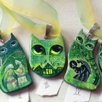 Green cat pendants