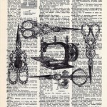 Scissors. vintage prints on pages of old books