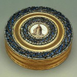 Snuffbox Showing a Monument to Catherine the Great. Gold, silver, enamel, cut diamonds and sapphires; cast, chased, painted, pounced and guilloched. Scharff, Johann Gottlieb. Russia. St Petersburg. 1776