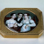 Composer Glinka family. Snuff-Box with the Depiction of the Composer Mikhail Glinka, His Sister and Mother. Gold, rock crystal and enamel; chased, engraved, guilloched and painted.
