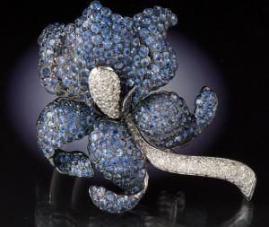 A Large Sapphire and Diamond Iris Brooch