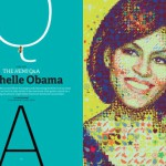 A colorful Michelle Obama for Hemispheres magazine made out of vegetables, fruits, bees and stars