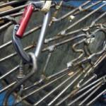 Closeup. A copy of the famous Mini Cooper S car built by German sculptor Alexander Geissler