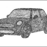 Sketch for a copy of the famous Mini Cooper S car. Creation by German sculptor Alexander Geissler