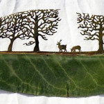 Deer in the forest. Artful Leaf cutting by Spanish self-taught artist Lorenzo Duran