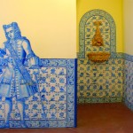 Azulejo tiles in interior and exterior walls of different buildings