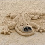 Cute image of a dragon. Sand sculpture