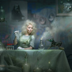 A witch with her flasks. Beautiful fantasy world in photoart of Russian photographer Vladimir Fedotko