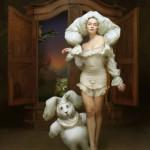 A girl with her weird bunny. Beautiful fantasy world in photoart of Russian photographer Vladimir Fedotko