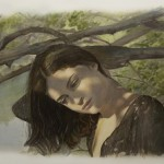 At the river. Painting by Yigal Ozeri