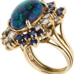 Black Opal, Sapphire, Diamond, Gold Ring