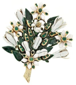 Brooch bouquet of lilies