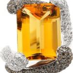 Citrine, Diamond, Colored Diamond, Gold Ring