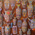 Beautiful masks made of colorful beads