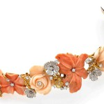 Coral, diamond, yellow and white gold bracelet