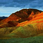 Bright colors of picturesque mountains of Danxia