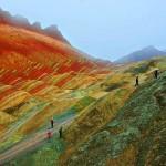 Rare tourists take scenic walks in Danxia – beautiful mountainous area in China