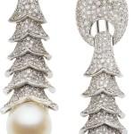 Diamond, Cultured Pearl, White Gold Earrings