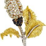 Diamond, Sapphire, Enamel, Gold Brooch