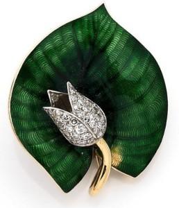 Diamond, enamel, platinum and yellow gold brooch BY BOUCHERON, CIRCA 1960