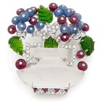 Diamond, ruby​​, sapphire, tsavorite and rock crystal Art Deco brooch