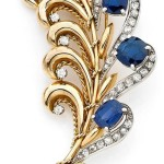 Diamond, sapphire, platinum and yellow gold brooch CLIP ON Mellerio, circa 1950