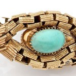 Diamond, turquoise, gold, and 14K gold bracelet Italian work, about 1940