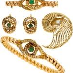 Emerald, Diamond, Seed Pearl, Gold Jewelry Lot