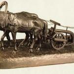 Farmer plowing. Iron. 1914