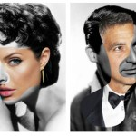 Angelina Jolie and Elizabeth Taylor, George Clooney and Gary Grant. From the series of collages Iconatomy by Swedish artist George Chamoun
