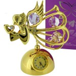 Gold ANGEL with Heart & Swarovski Crystals, angelic miniature clock, cast in metal with a shimmering 24 gold plated finish, she is adorned with clear Swarovski crystals