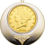 Gold Coin, Diamond, White Gold Pendant