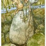 An elf with a wolf. Green Fairy tale illustrations by British artist David Wyatt