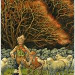 Shepherd. Green Fairy tale illustrations by British artist David Wyatt