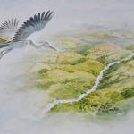Flying crane. Green Fairy tale illustrations by British artist David Wyatt