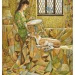 Embroidering. Green Fairy tale illustrations by British artist David Wyatt