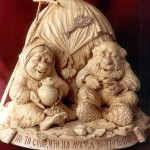 At a haystack. Wood sculpture from 'Hours of Russian soul' collection by Yuri Firsanov