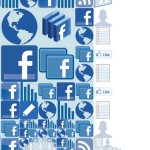"""I Like Facebook. Mosaic illustration of the """"LIKE"""" button for Fortune magazine. Made out of Facebook interface icons"""