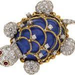 Lapis Lazuli, Diamond, Ruby, Gold Brooch, Tobias