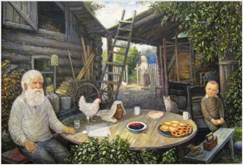 Leonid baranov (russia, b. 1955), 'homeland'. oil on canvas