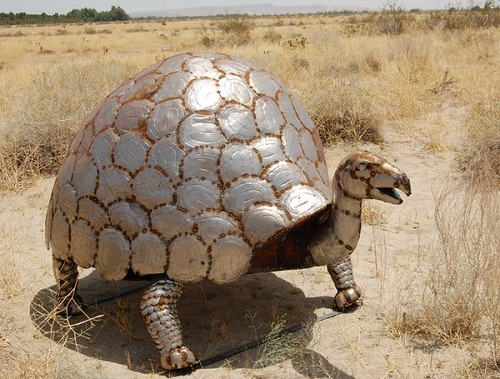 Tortoise in art and heraldy. Monument to turtle in Anza Borrego Desert, California, USA