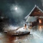 Winter night. Moonlight sonata in painting by Russian artist Igor Medvedev