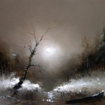Two shores. Landscape. Moonlight sonata in painting by Russian artist Igor Medvedev